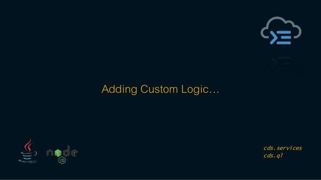 Adding Custom Logic… cds.services cds.ql