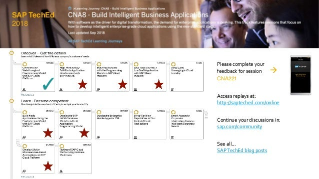 ✓ ✓ Please complete your feedback for session  CNA221 Access replays at: http://sapteched.com/online Continue your discus...