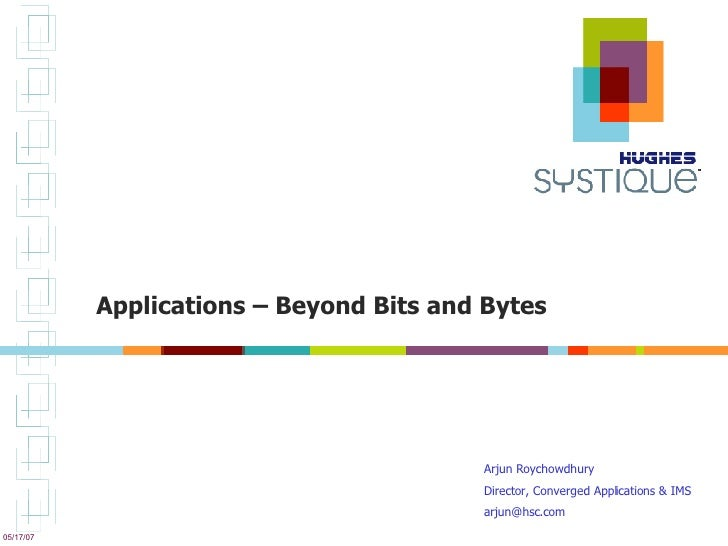Applications – Beyond Bits and Bytes Arjun Roychowdhury  Director, Converged Applications & IMS [email_address]