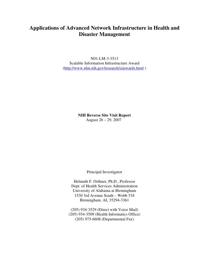 Applications of Advanced Network Infrastructure in Health and                     Disaster Management                     ...