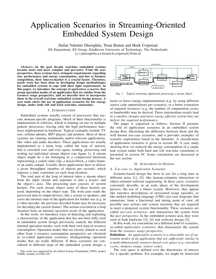 Application scenarios in streaming oriented embedded-system design