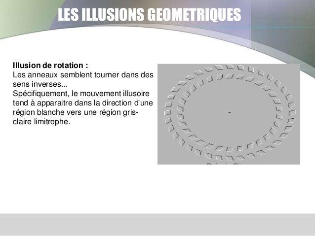 LES ILLUSIONS GEOMETRIQUES  Illusion de rotation : Les anneaux semblent tourner dans des sens inverses... Spécifiquement, ...