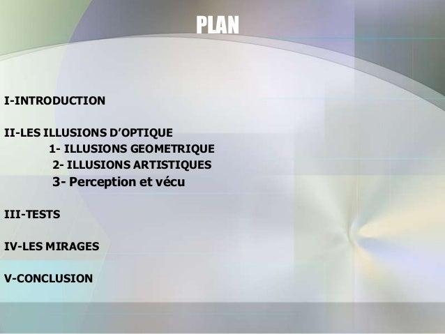 PLAN  I-INTRODUCTION II-LES ILLUSIONS D'OPTIQUE 1- ILLUSIONS GEOMETRIQUE 2- ILLUSIONS ARTISTIQUES  3- Perception et vécu I...