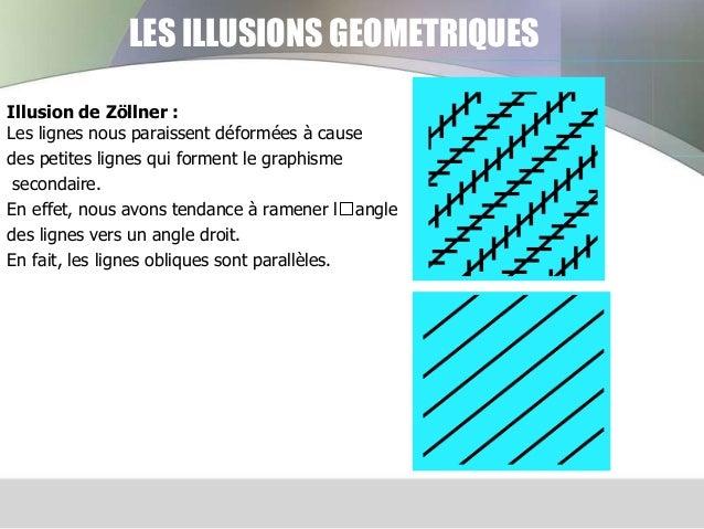 LES ILLUSIONS GEOMETRIQUES Illusion de Zöllner : Les lignes nous paraissent déformées à cause des petites lignes qui forme...