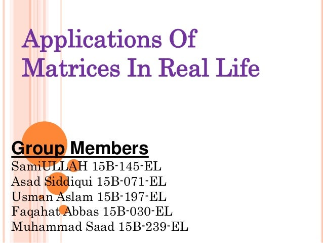 applications of matrices in daily life