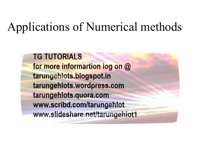 Applications of Numerical methods
