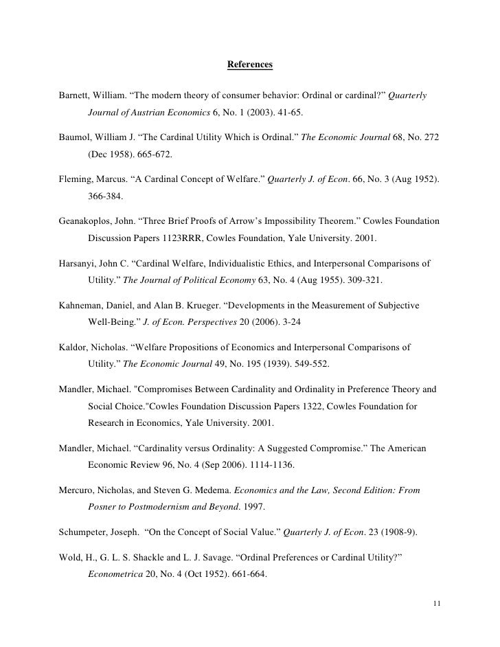 Applications of ordinality and cardinality to economic utility theory