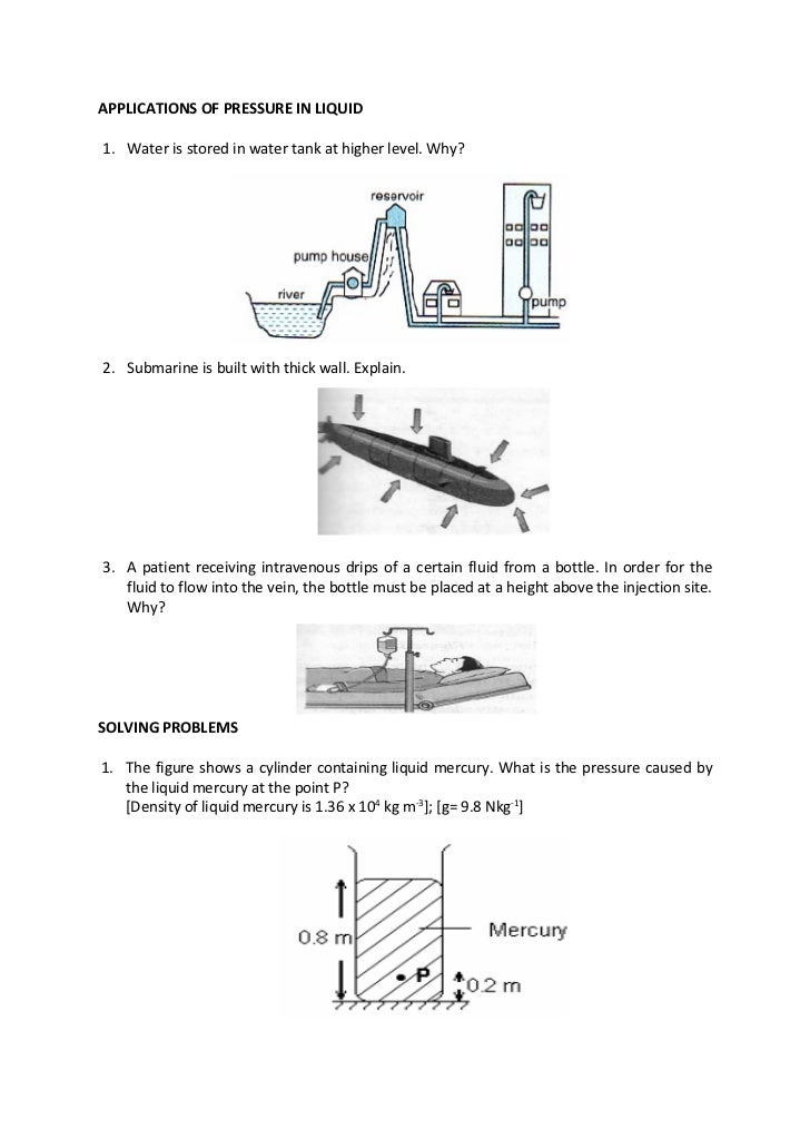 Exercises Pressure in liquid, Application, Pascal principle