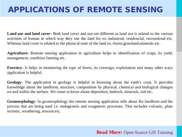 remote sensing gis applications in Remote sensing and gis application in agro-ecological zoning by nr patel [pdf - 01 mb] pages 213-233 crop growth modeling and its applications in agricultural meteorology by v radha krishna murthy [pdf - 01 mb.