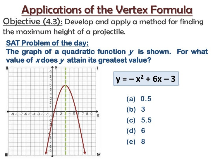 Applications of the Vertex Formula<br />Objective (4.3):Develop and apply a method for finding the maximum height of a pro...