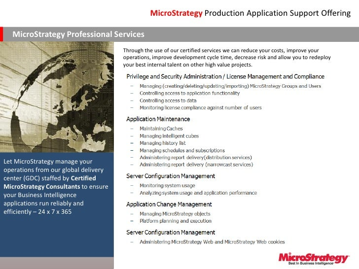 MicroStrategy Production Application Support Offering  MicroStrategy Professional Services                                ...
