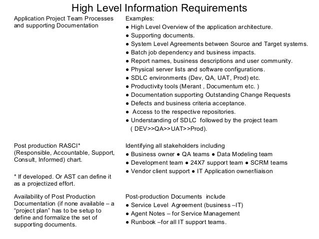 high level requirements template application support requirements processes