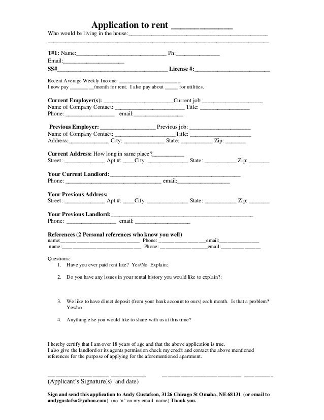 Application To Rent Apartment