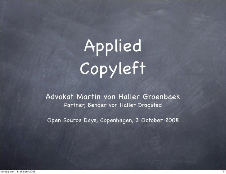 Applied                                         Copyleft                               Advokat Martin von Haller Groenbaek...