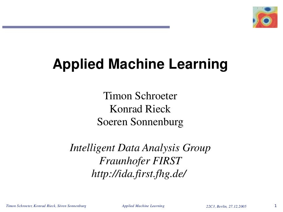 Applied Machine Learning                                                     Timon Schroeter                              ...