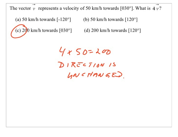 The vector   represents a velocity of 50 km/h towards [030°]. What is   ?    (a) 50 km/h towards [-120°]      (b) 50 km/h ...