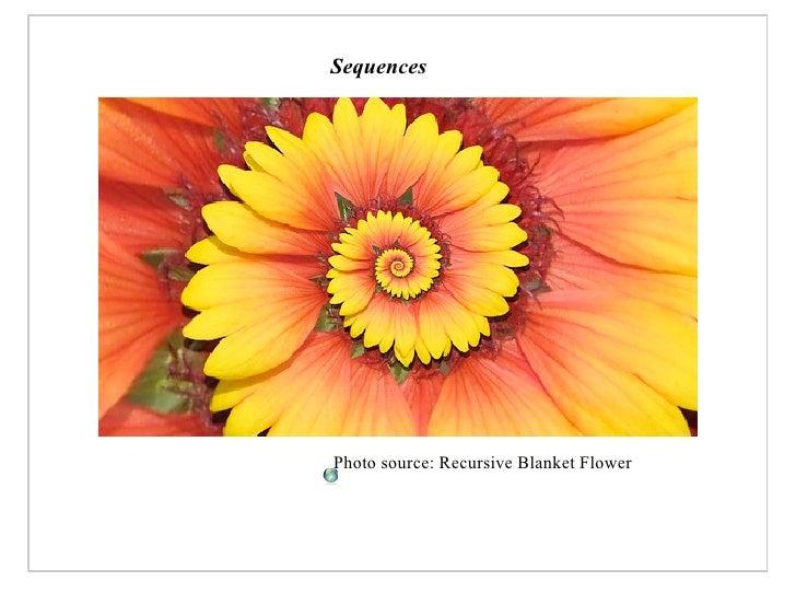 Sequences     Photo source: Recursive Blanket Flower