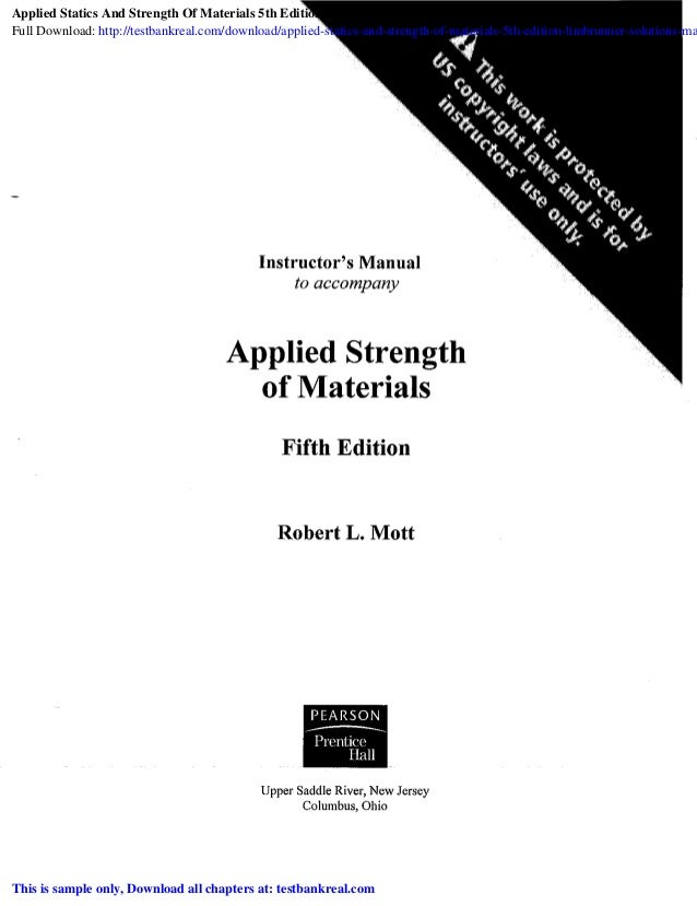 Applied Statics And Strength Of Materials 5th Edition