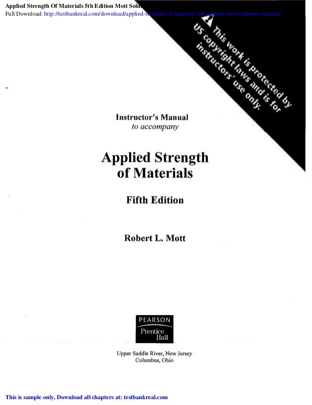 Applied Strength of Materials 5th Edition Mott Solutions