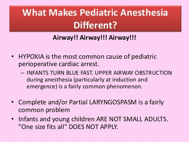 Applied anatomy and physiology of paediatric anaesthesia