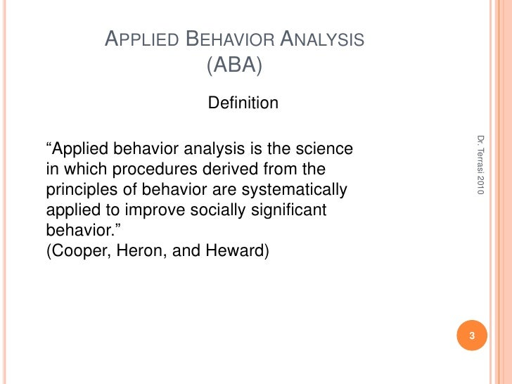 ... 3. Applied Behavior ...