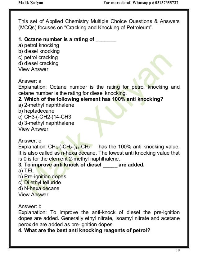 Applied Chemistry Multiple Choice Questions with Answers Part 1 by Ma…