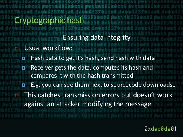 Cryptographic hash Ensuring data integrity  Usual workflow:  Hash data to get it's hash, send hash with data  Receiver ...