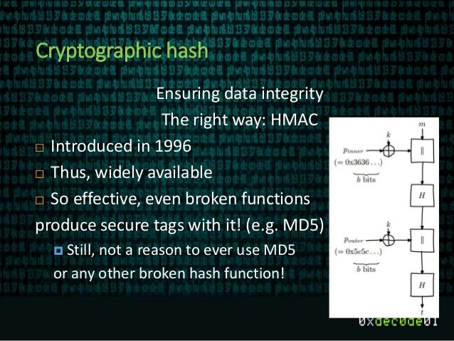 Cryptographic hash Ensuring data integrity The right way: HMAC  Introduced in 1996  Thus, widely available  So effectiv...