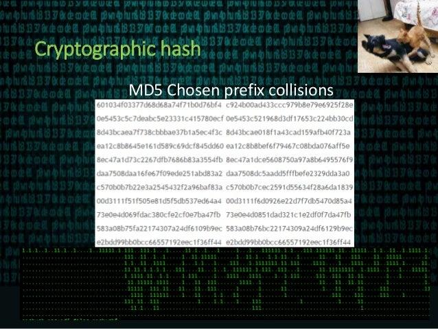 Cryptographic hash MD5 Chosen prefix collisions