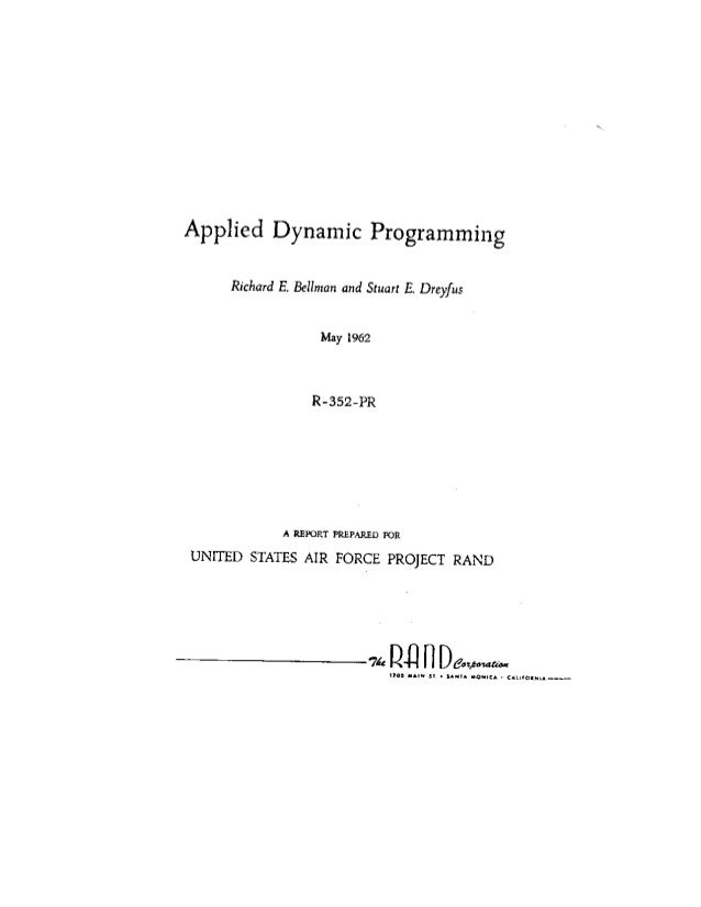 Applied Dynamic Programming by Richard Bellman and Stuart Dreyfus