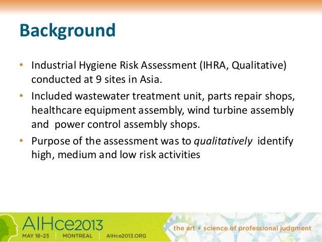 Applied industrial hygiene risk assessment globally   AIHce Montreal 2013 Slide 3