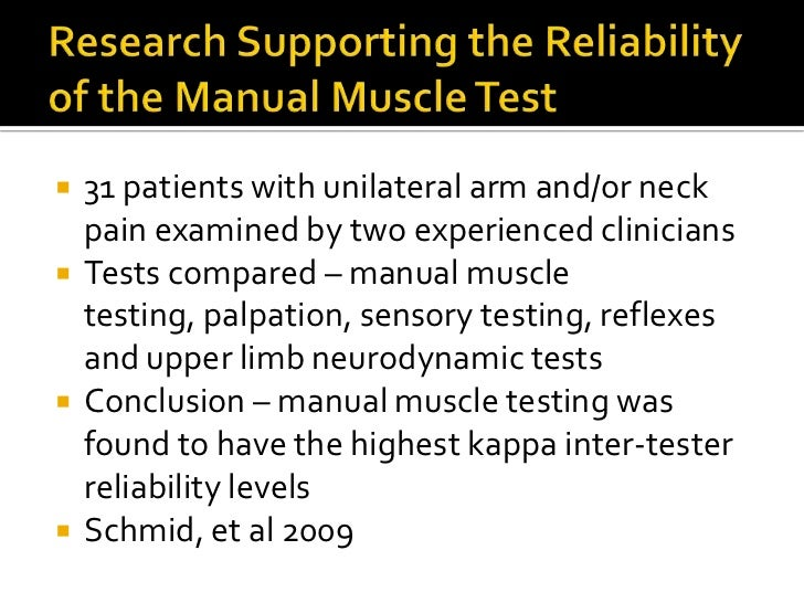 applied kinesiology ak rh slideshare net reliability of manual muscle tests Manual Muscle Testing Chart
