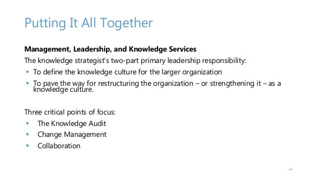 Putting It All Together Management, Leadership, and Knowledge Services The knowledge strategist's two-part primary leaders...