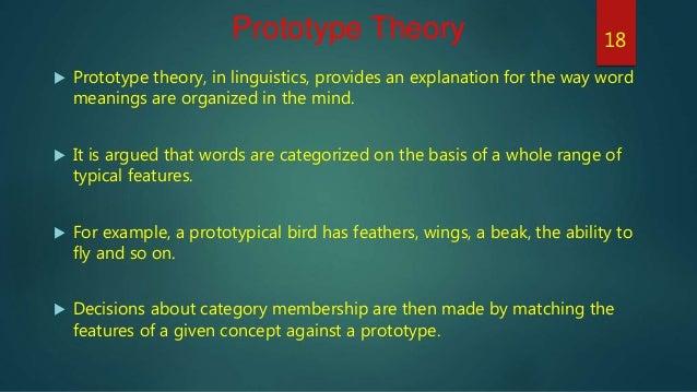 prototype theory Prototype theory的中文意思:原型说,点击查查权威在线词典详细解释prototype theory的中文翻译,prototype theory的发音,音标.