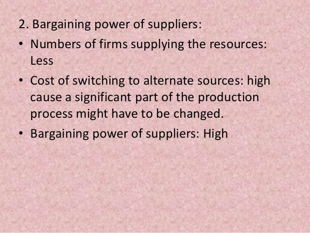 threat of supplier bargaining power marketing essay This model helps marketers and business managers to look at the 'balance of   what's the threat of new businesses starting in this sector  in the jewellery  sector, diamond suppliers often hold the power and can set prices, withhold  supply and restrict sales 5  how competitive forces shape strategy.