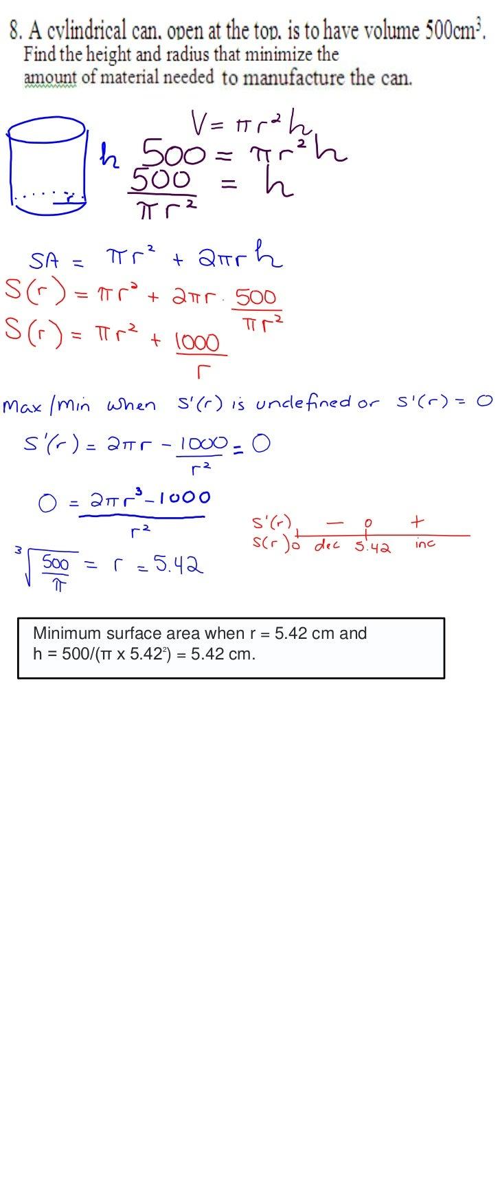 Applied max min minimum surface area ccuart Choice Image