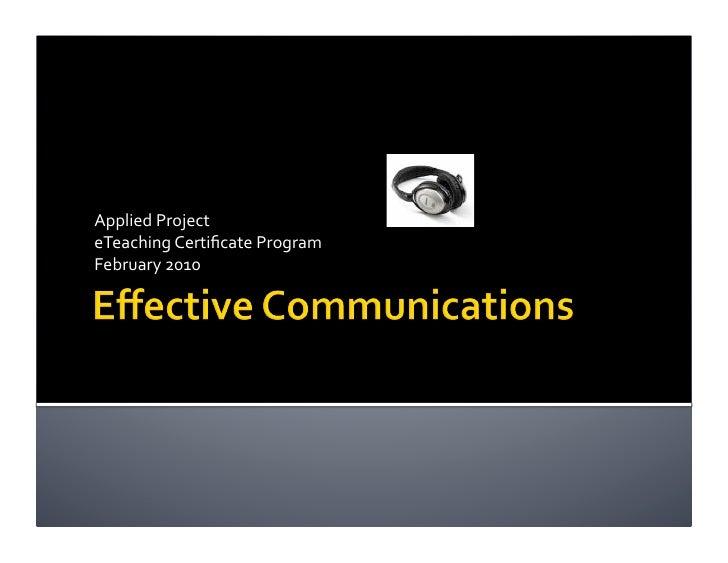 AppliedProject eTeachingCertificateProgram February2010