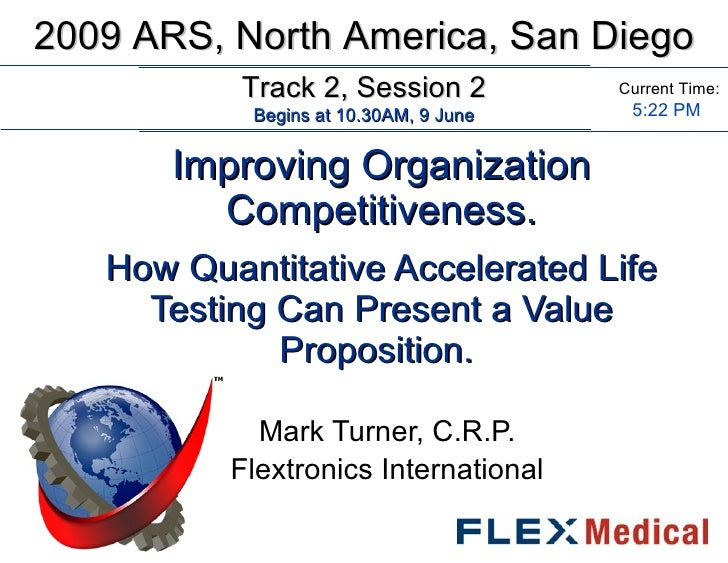 Improving Organization Competitiveness.   How Quantitative Accelerated Life Testing Can Present a Value Proposition.  Mark...