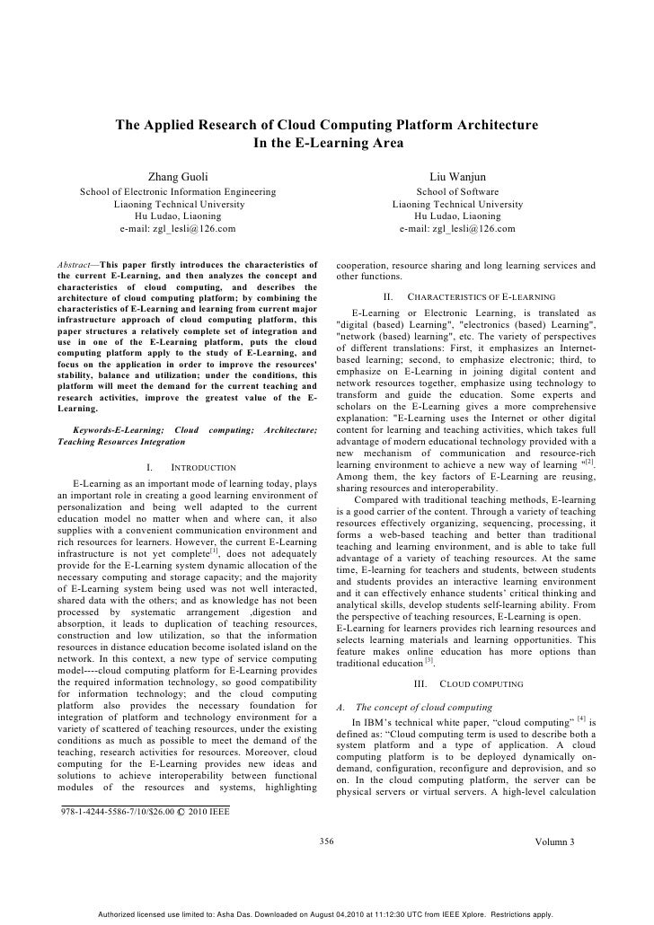 The Applied Research of Cloud Computing Platform Architecture                                 In the E-Learning Area      ...
