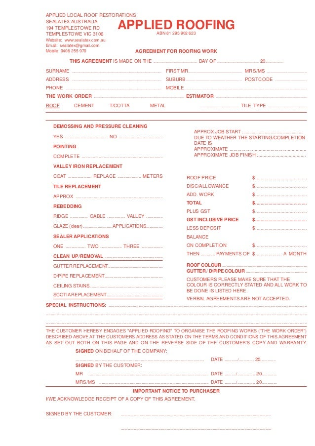 roofing estimate template form
