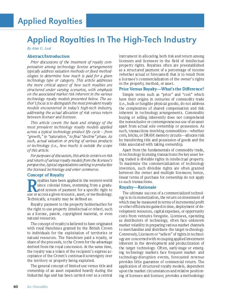 Applied Royalties     Applied Royalties In The High-Tech Industry     By Alan G. Leal     Abstract/Introduction           ...