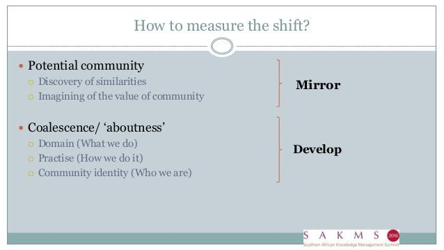 How to measure the shift?  Potential community  Discovery of similarities  Imagining of the value of community  Coales...