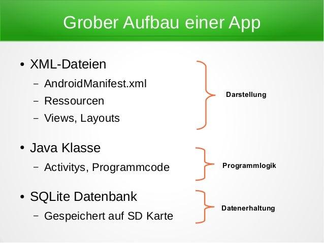 Grober Aufbau einer App●   XML-Dateien    –   AndroidManifest.xml                                    Darstellung    –   Re...
