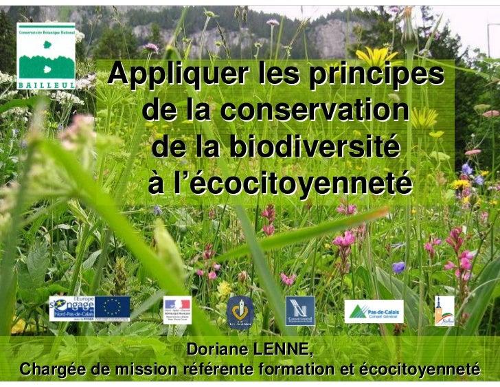 Appliquer les principes            de la conservation            de la biodiversité            à l'écocitoyenneté         ...