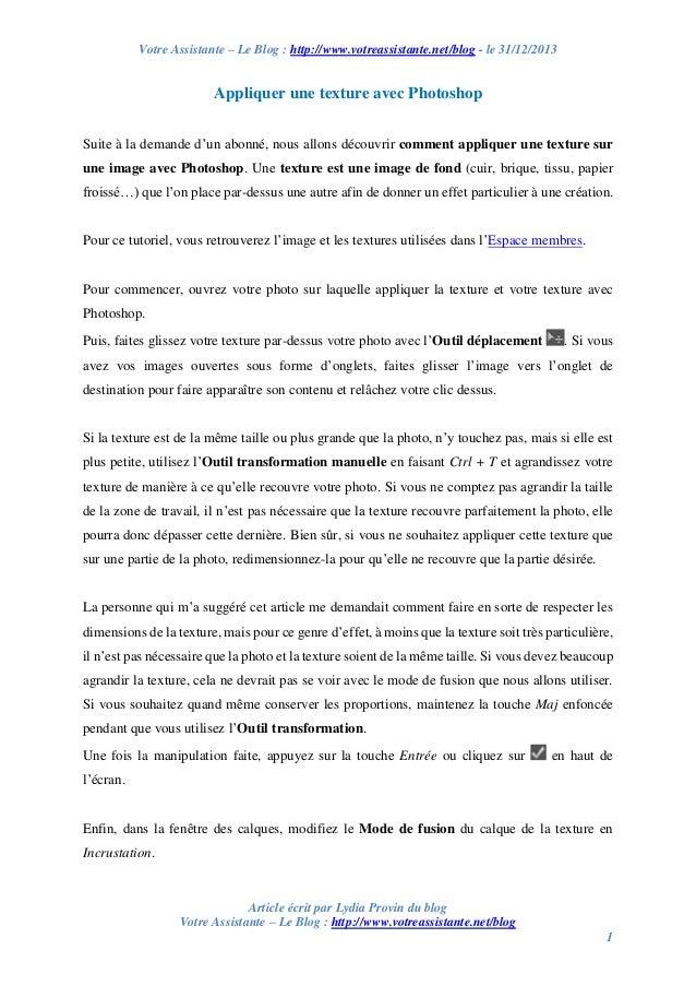 Votre Assistante – Le Blog : http://www.votreassistante.net/blog - le 31/12/2013  Appliquer une texture avec Photoshop Sui...