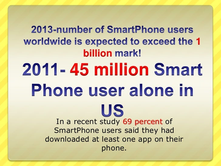 2013-number of SmartPhone users worldwide is expected to exceed the 1 billion mark!2011- 45 million Smart Phone user alone...
