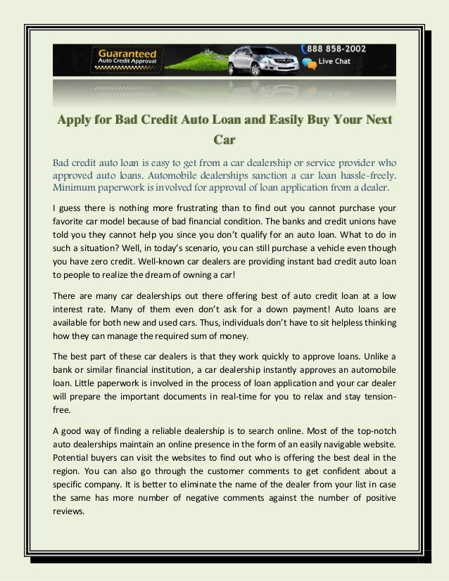 Apply for Bad Credit Auto Loan and Easily Buy Your Next Car