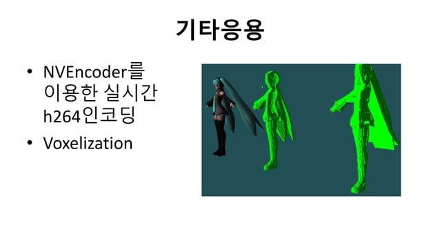 기타응용• NVEncoder를이용한 실시갂h264인코딩• Voxelization