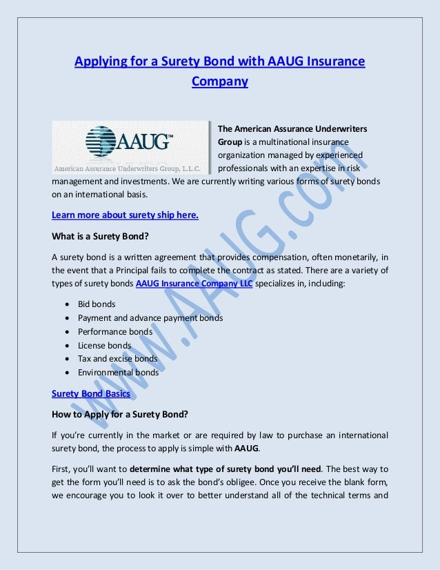 Applying For A Surety Bond With Aaug Insurance Company Ltd