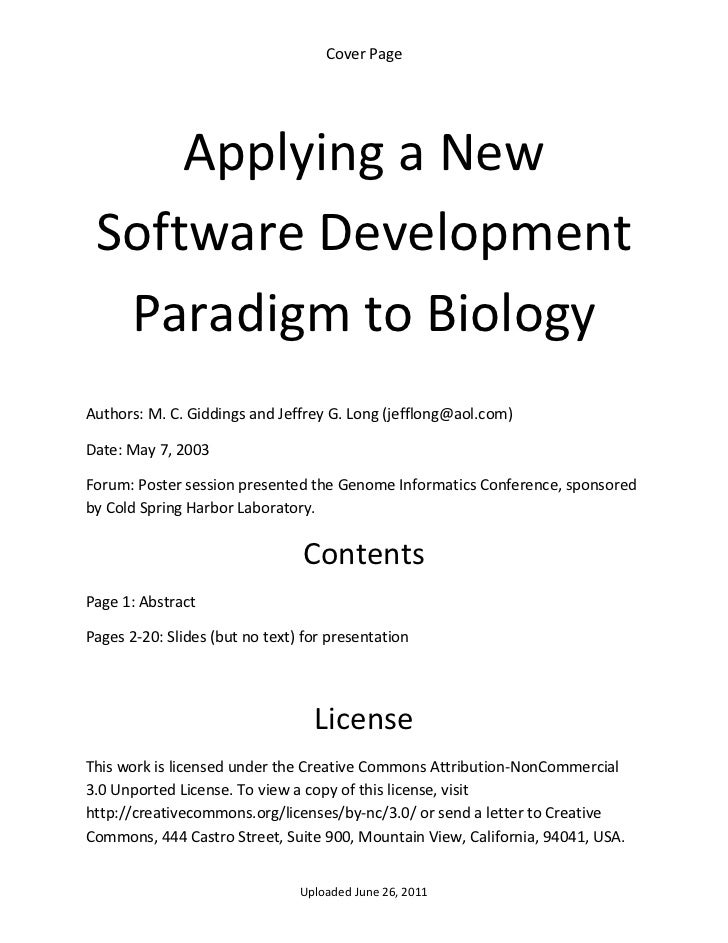 Cover Page          Applying a New     Software Development      Paradigm to Biology  Authors: M. C. Giddings and Jeffrey ...